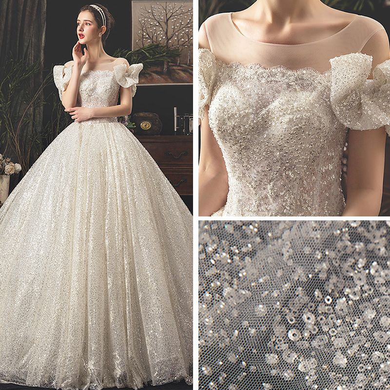 Bling Bling Ivory See-through Wedding Dresses 2019 A-Line / Princess Square Neckline Bow Short Sleeve Backless Glitter Tulle Royal Train Ruffle