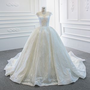 Luxury / Gorgeous White Bridal Wedding Dresses 2020 Ball Gown See-through Square Neckline Sleeveless Backless Beading Sequins Chapel Train Ruffle