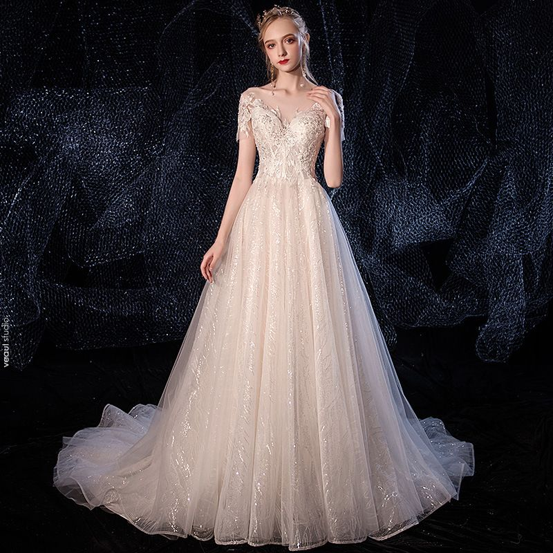 Elegant Champagne Wedding Dresses 2020 A-Line / Princess See-through Scoop Neck Short Sleeve Backless Glitter Tulle Appliques Lace Beading Court Train Ruffle