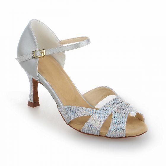 Mode Silver Gatukläder Sandaler Dam 2021 Ankelband 7 cm Stilettklackar Peep Toe Sandaler Högklackade