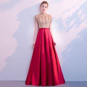 Luxe Rouge Robe De Soirée 2018 Princesse Col Haut Manches Courtes Faux Diamant Perlage Paillettes Longue Volants Robe De Ceremonie