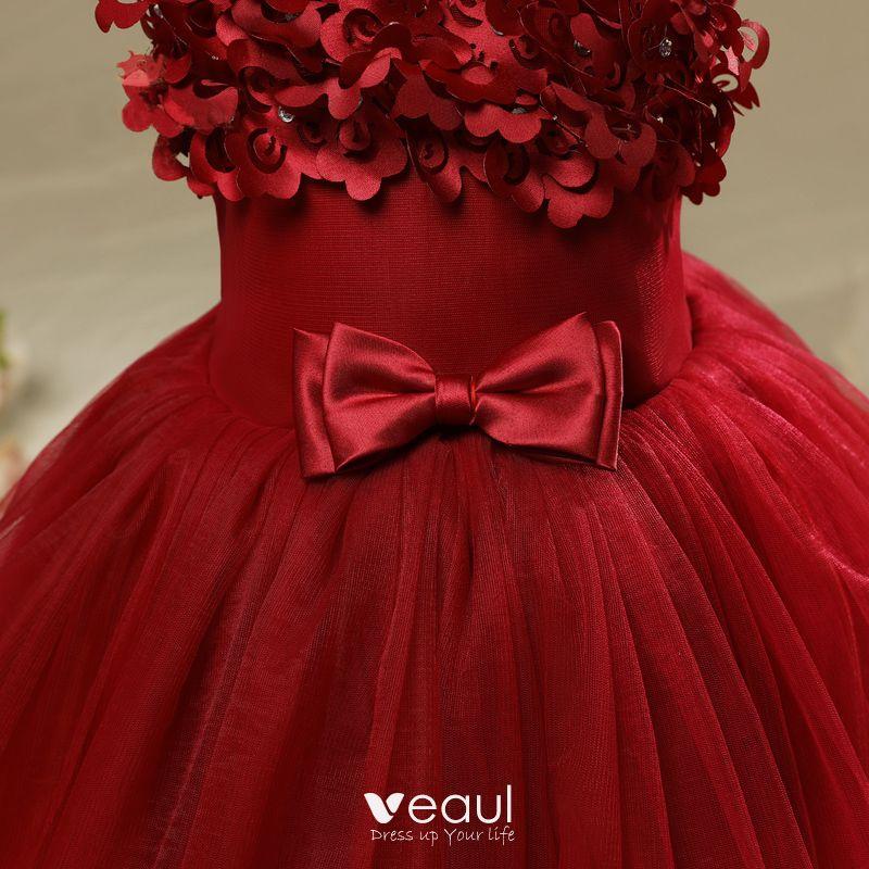 Chic / Beautiful Hall Wedding Party Dresses 2017 Flower Girl Dresses Burgundy Short Ball Gown Cascading Ruffles V-Neck Sleeveless Bow Rhinestone Appliques Flower