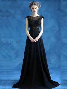 Belle Robe De Soirée Longue En Dentelle Robe Noire Sans Manches