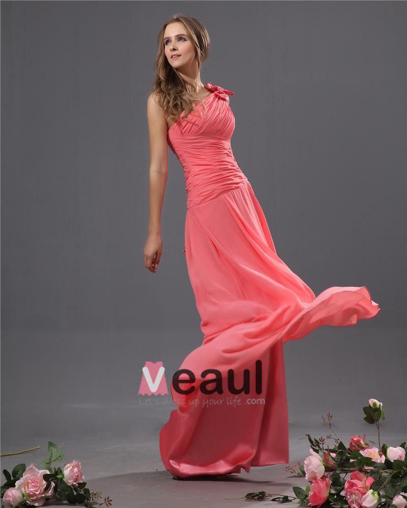 One Shoulder Chiffon Bowtie Floor Length Bridesmaid Dresses