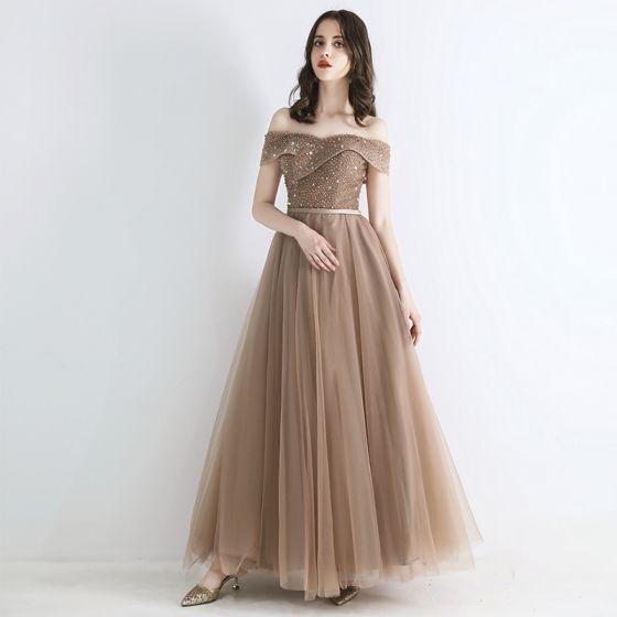 Elegant Champagne Evening Dresses  2019 A-Line / Princess Off-The-Shoulder Short Sleeve Appliques Lace Sequins Beading Sash Floor-Length / Long Ruffle Backless Formal Dresses