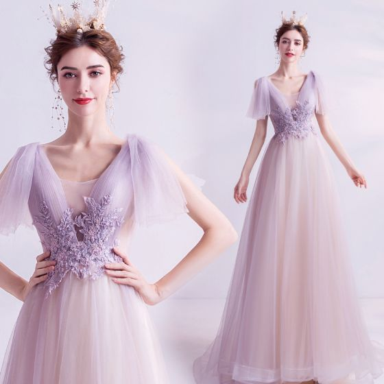 Élégant Violet Robe De Soirée 2020 Princesse V-Cou Dos Nu Perle Cristal Paillettes En Dentelle Fleur Manches Courtes Longue Robe De Ceremonie