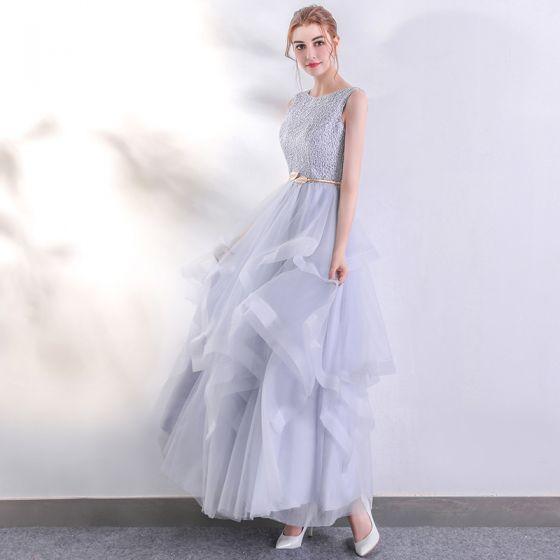 Schöne Silber Abendkleider 2017 A Linie U-Ausschnitt Spitze Ärmellos Rückenfreies Durchbohrt Abend Ballkleider