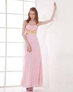 Mode Chiffon Faltete Schatz Bodenlangen Abendkleid
