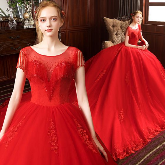 Charming Red Wedding Dresses 2020 Ball Gown Scoop Neck Beading Tassel Lace Flower Sleeveless Backless Royal Train