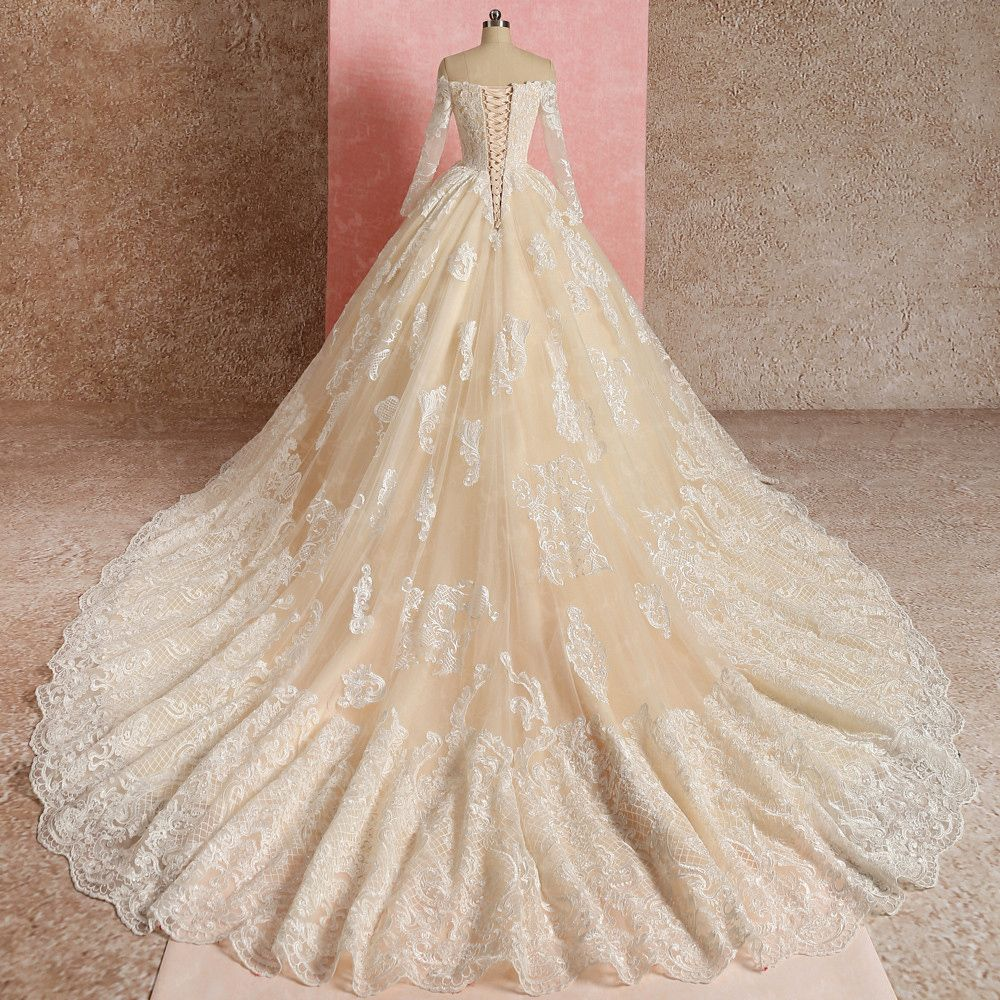 Elegant Champagne Wedding Dresses 2019 Ball Gown Off-The-Shoulder Lace Flower Long Sleeve Backless Cathedral Train