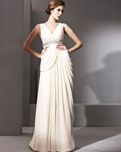 Noble Silk Satin V-neck Floor Length Evening Dresses