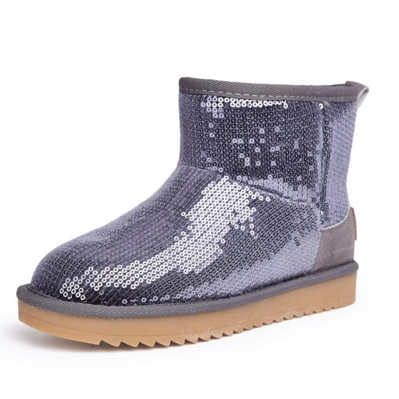 Sparkly Snow Boots 2017 Grey Leather Ankle Sequins Casual Winter Flat Womens Boots
