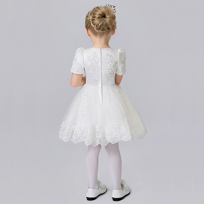 Chic / Beautiful Church Wedding Party Dresses 2017 Flower Girl Dresses White Short Ball Gown Scoop Neck Short Sleeve Lace Appliques Pearl Sequins