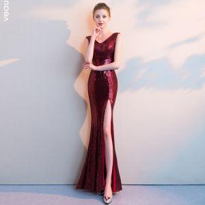 Sexy Burgundy Evening Dresses  2018 Trumpet / Mermaid Split Front Sequins V-Neck Backless Sleeveless Floor-Length / Long Formal Dresses