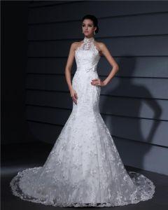 Hoch Ansatz Spitze Applique Gericht Mantel Brautkleider Hochzeitskleid
