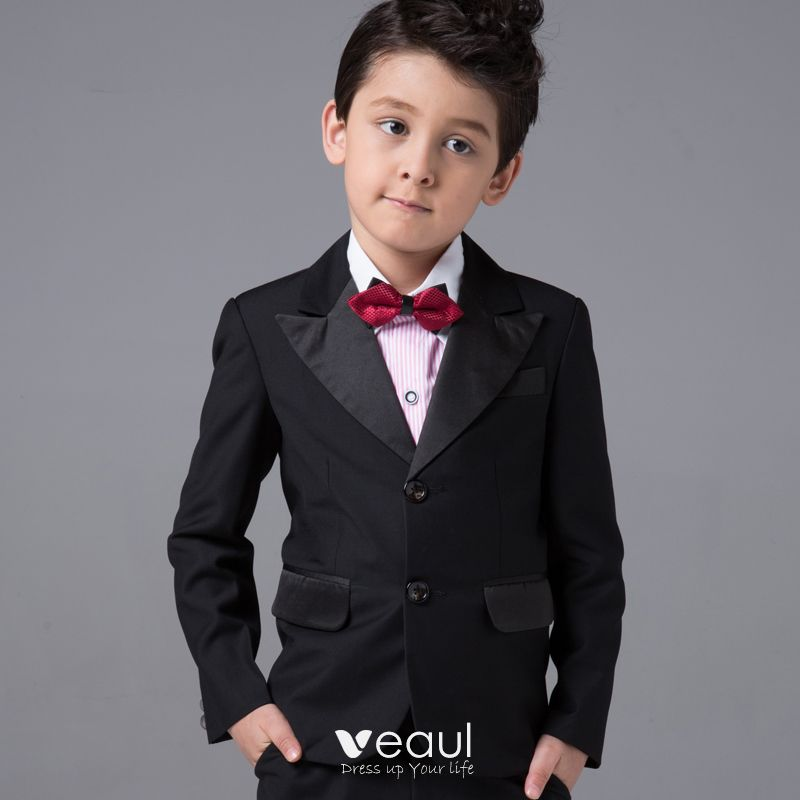 Modest / Simple Boys Wedding Suits Long Sleeve Black 2017