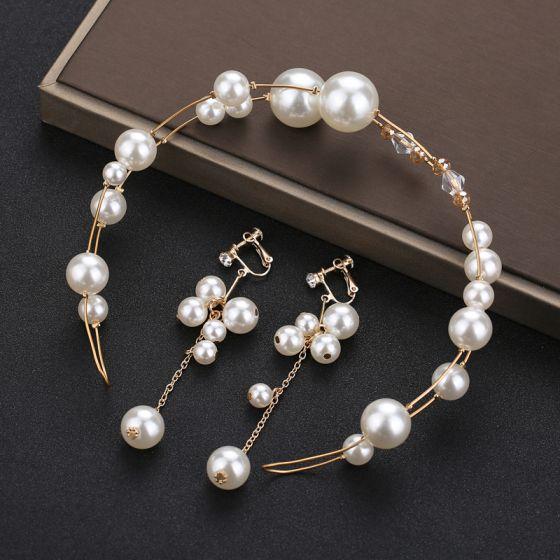 Schöne Gold Kopfschmuck Haarschmuck Braut  2020 Metall Kristall Perle Stirnbänder Ohrringe Hochzeit Brautaccessoires