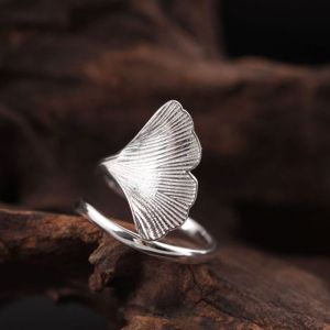 Modest / Simple Silver Handmade  Leaf Ring Sterling Silver Work Holiday Rings 2019 Accessories