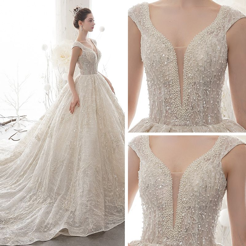 Luxury / Gorgeous Champagne See-through Wedding Dresses 2020 Ball Gown Deep V-Neck Sleeveless Backless Glitter Tulle Appliques Lace Sequins Beading Cathedral Train Ruffle