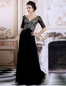 2015 Luxury V-Neck Sequined Half Sleeves Black Long Evening Dress