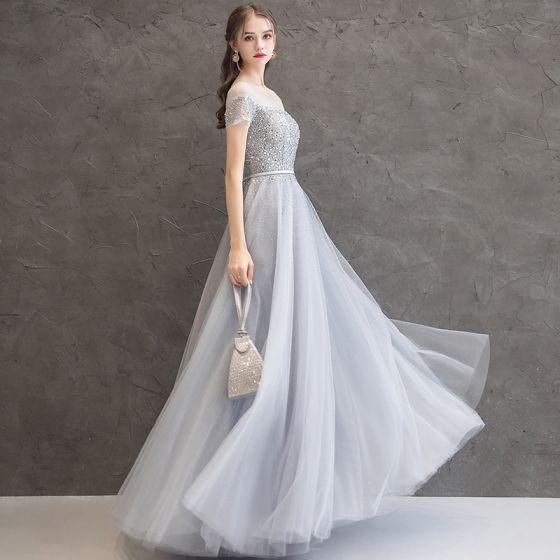 Błyszczące Szary Sukienki Wieczorowe 2019 Princessa Wycięciem Frezowanie Cekiny Szarfa Kótkie Rękawy Długie Sukienki Wizytowe