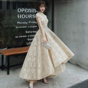 Vintage / Retro Gold Flower Lace Dancing Prom Dresses 2020 A-Line / Princess High Neck Short Sleeve Beading Asymmetrical Ruffle Formal Dresses