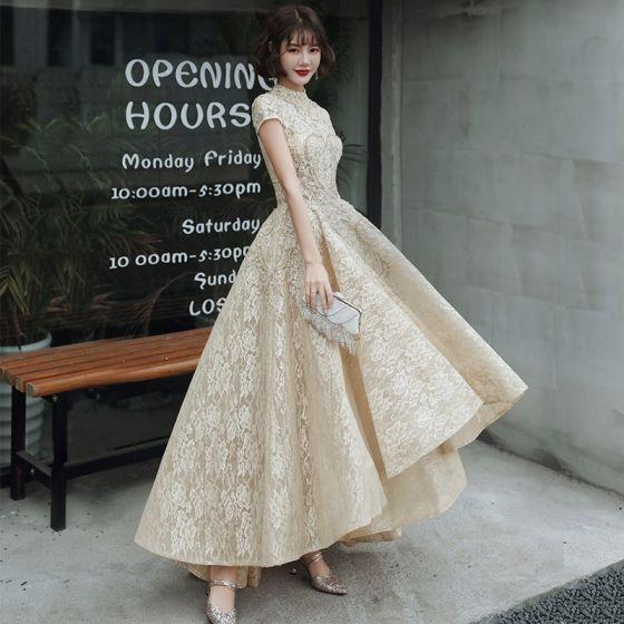 Vintage / Retro Gold Flower Lace Dancing Prom Dresses 2020 A-Line / Princess High Neck Short Sleeve Beading Asymmetrical Ruffle Formal Dresses