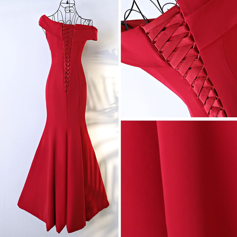 Sexy Red Formal Dresses 2017 Trumpet / Mermaid Cascading Ruffles One-Shoulder Backless Short Sleeve Floor-Length / Long Evening Dresses
