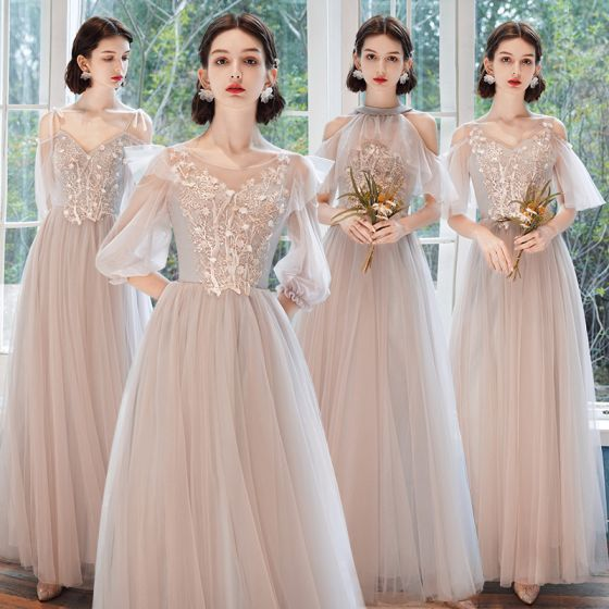 Affordable Pearl Pink Bridesmaid Dresses 2020 A-Line / Princess Backless Appliques Lace Floor-Length / Long Ruffle