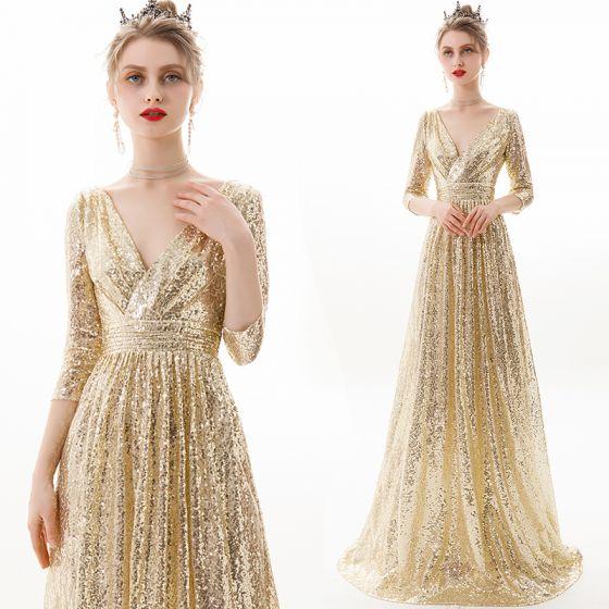 Błyszczące Szampan Sukienki Wieczorowe 2019 Princessa V-Szyja Cekiny 3/4 Rękawy Bez Pleców Długie Sukienki Wizytowe