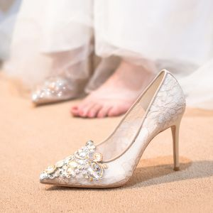Chic / Beautiful Champagne Wedding Shoes 2020 Tulle Rhinestone 10 cm Stiletto Heels Pointed Toe Wedding Pumps