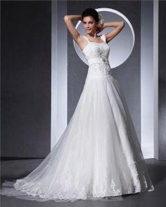 Schultergurte Applique Bodenlange Organza Frau A Linie Hochzeitskleid