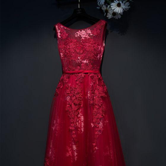 Piękne Czerwone Sukienki Wizytowe 2017 Imperium Koronkowe Kwiat Wiązane Wycięciem Bez Rękawów Długość Kostki Sukienki Wieczorowe