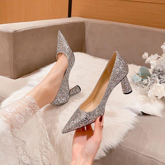 Brillante Plata Lentejuelas Zapatos de novia 2021 Cuero 5 cm Stilettos / Tacones De Aguja Punta Estrecha Boda Tacones High Heels