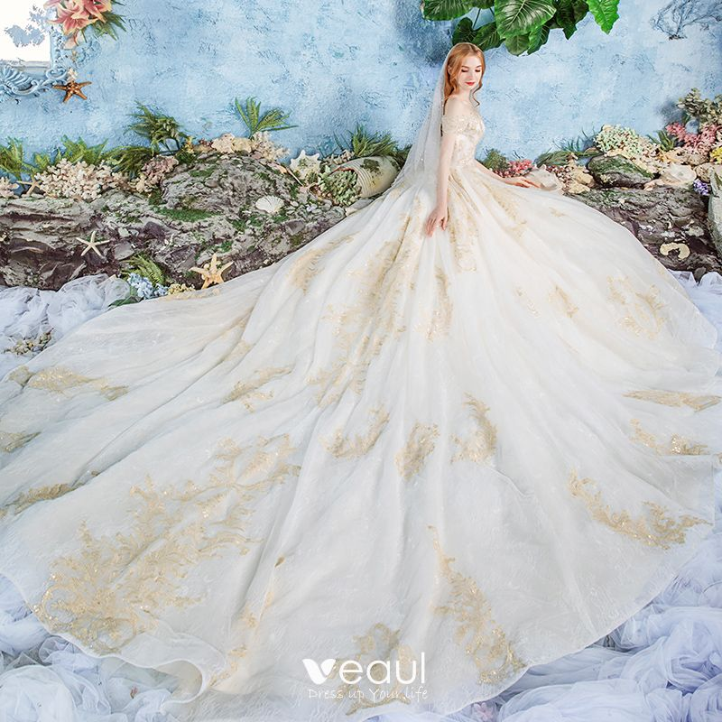Luxury / Gorgeous Champagne Wedding Dresses 2019 Ball Gown Off-The-Shoulder Short Sleeve Backless Appliques Lace Beading Cathedral Train Ruffle