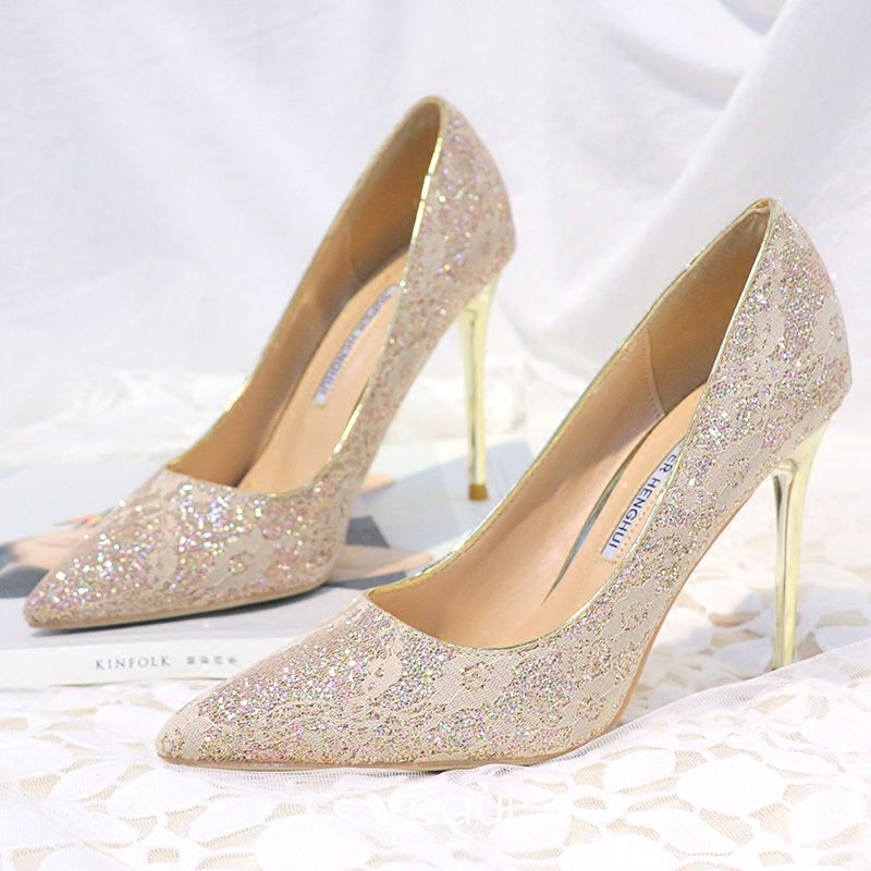 b0d2248c27eec Sparkly Gold Wedding Shoes 2018 Sequins 10 cm Stiletto Heels Pointed Toe Wedding  Pumps