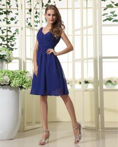 Elegant A-Line V-Neck Knee-length Chiffon Bridesmaid Dress