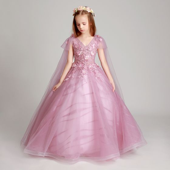 Chic / Beautiful Blushing Pink Flower Girl Dresses 2017 Ball Gown V-Neck Short Sleeve Lace Appliques Flower Pearl Sequins Floor-Length / Long Ruffle Wedding Party Dresses