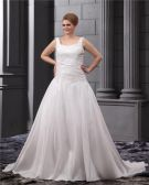 Satin Applique Round Neck Court Plus Size Bridal Gown Wedding Dress
