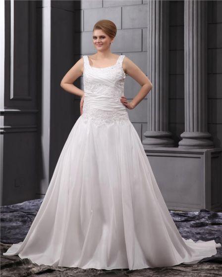 Satin Applique Round Neck Court Plus Size Bridal Gown Wedding Dress