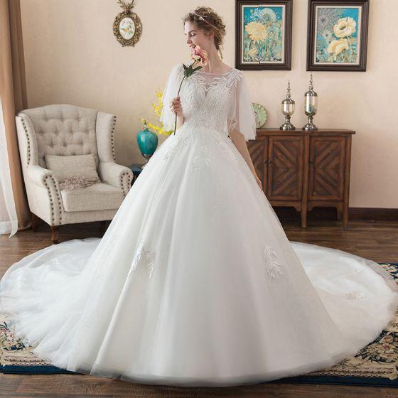 578c5f2fa3 Hermoso Marfil Vestidos De Novia 2018 Ball Gown Apliques Scoop Escote Sin  Espalda 1 2 Ærmer ...