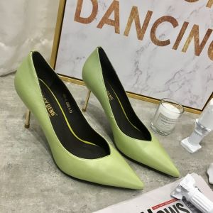 Chic / Beautiful Sage Green Casual Leather Pumps 2020 7 cm Stiletto Heels Pointed Toe Pumps