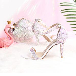 Bling Bling Blanche Mariage Sandales 2019 Été PU Perlage Faux Diamant 9 cm Chaussure De Mariée