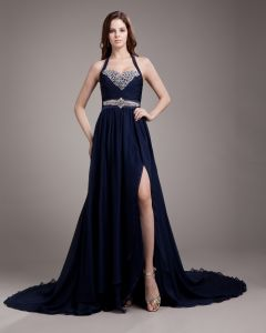 Halter Pleated Beading Floor Length Chiffon Woman Prom Dress