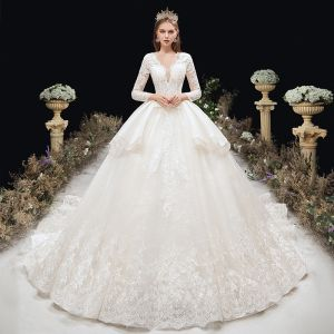 Elegant Ivory Wedding Dresses 2020 Ball Gown Deep V-Neck Beading Sequins Pearl Rhinestone Lace Flower 3/4 Sleeve Backless Cathedral Train