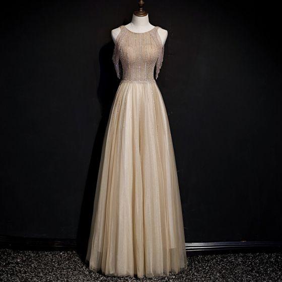 High-end Gold Evening Dresses  2020 A-Line / Princess Scoop Neck Sleeveless Beading Glitter Tulle Floor-Length / Long Ruffle Backless Formal Dresses