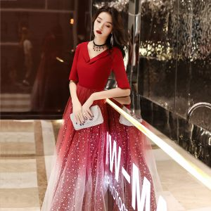 Affordable Red Evening Dresses  2020 A-Line / Princess V-Neck 1/2 Sleeves Appliques Star Sequins Floor-Length / Long Ruffle Backless Formal Dresses