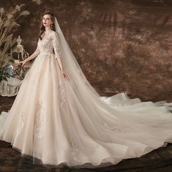 Charming Champagne Wedding Dresses 2020 A-Line / Princess Scoop Neck Beading Sequins Lace Flower 3/4 Sleeve Backless Cathedral Train
