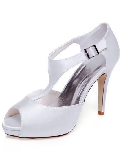 Elegante Satin Hochzeitsschuhe Weiss Pumps 10 Cm High Heel