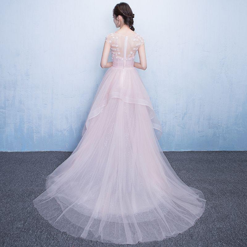 Chic / Beautiful Hall Party Dresses Formal Dresses Graduation Dresses 2017 Sequins Lace Appliques Scoop Neck Short Sleeve Court Train Pearl Pink A-Line / Princess